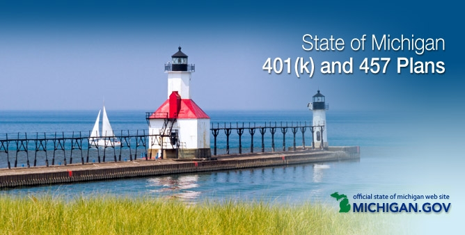 Michigan login image: lighthouse board walk leading out to blue blue ocean. Text: State of Michigan 401(k) and 457 Plans